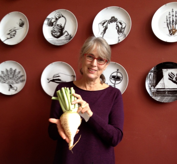 The Veg Goddess herself, Deborah Madison, showing a Gilfeather Turnip