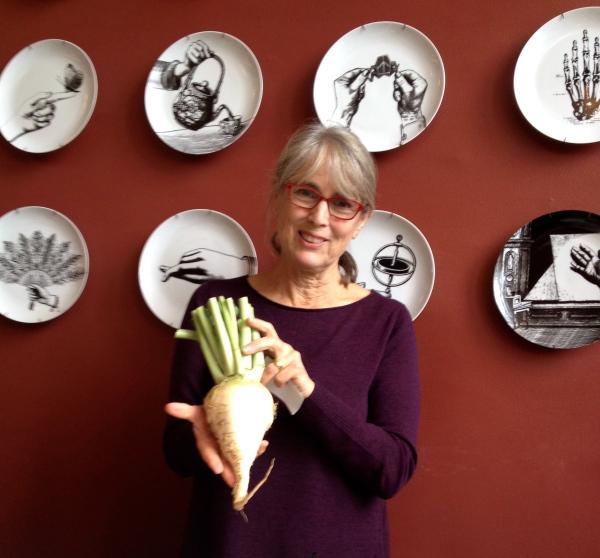 The Veg Goddess herself, Deborah Madison, showing a Gilfeather Turnip